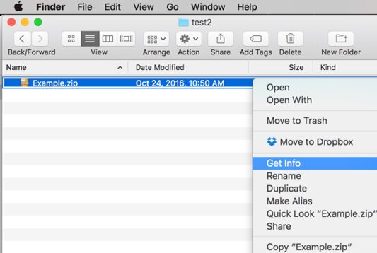"Select ""Get Info"" from the right-click context menu of a .zip file in Finder view"