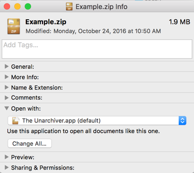 "Set the ""Open with"" application in the Info dialog of a .zip file"